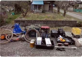 地質調査、水質調査の電源として