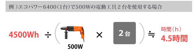 例 )エコパワー6400(1台)で500Wの電動工具2台を使用する場合